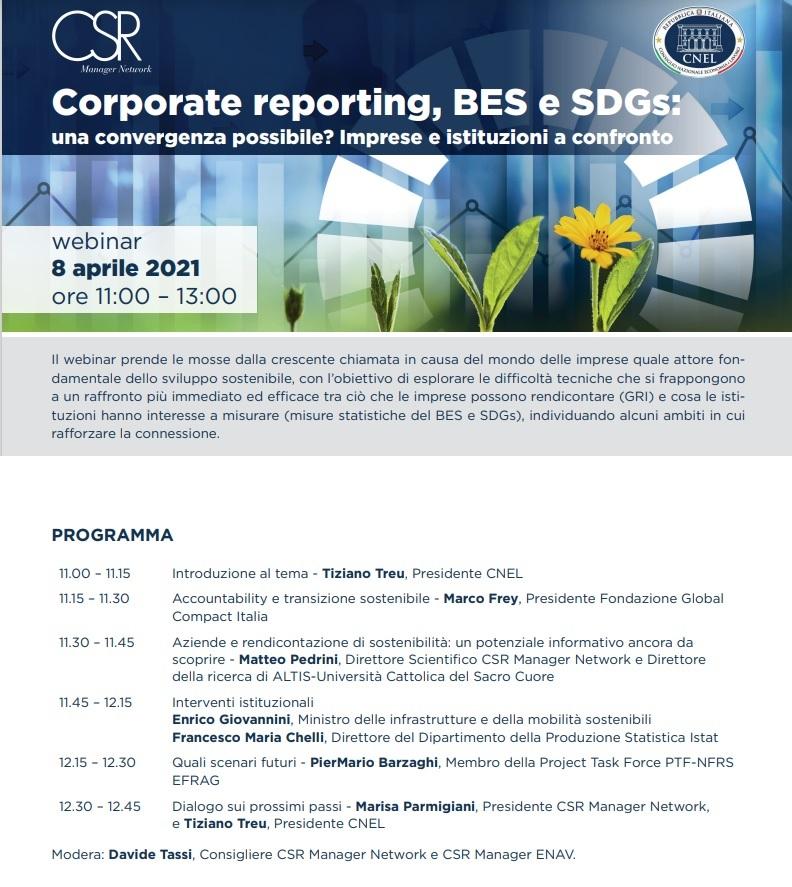 Corporate reporting, BES e SDGs: una convergenza possibile? Imprese e istituzioni a confronto