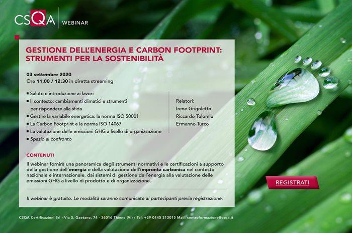 Gestione dell'energia e carbon footprint: strumenti per la sostenibilita'