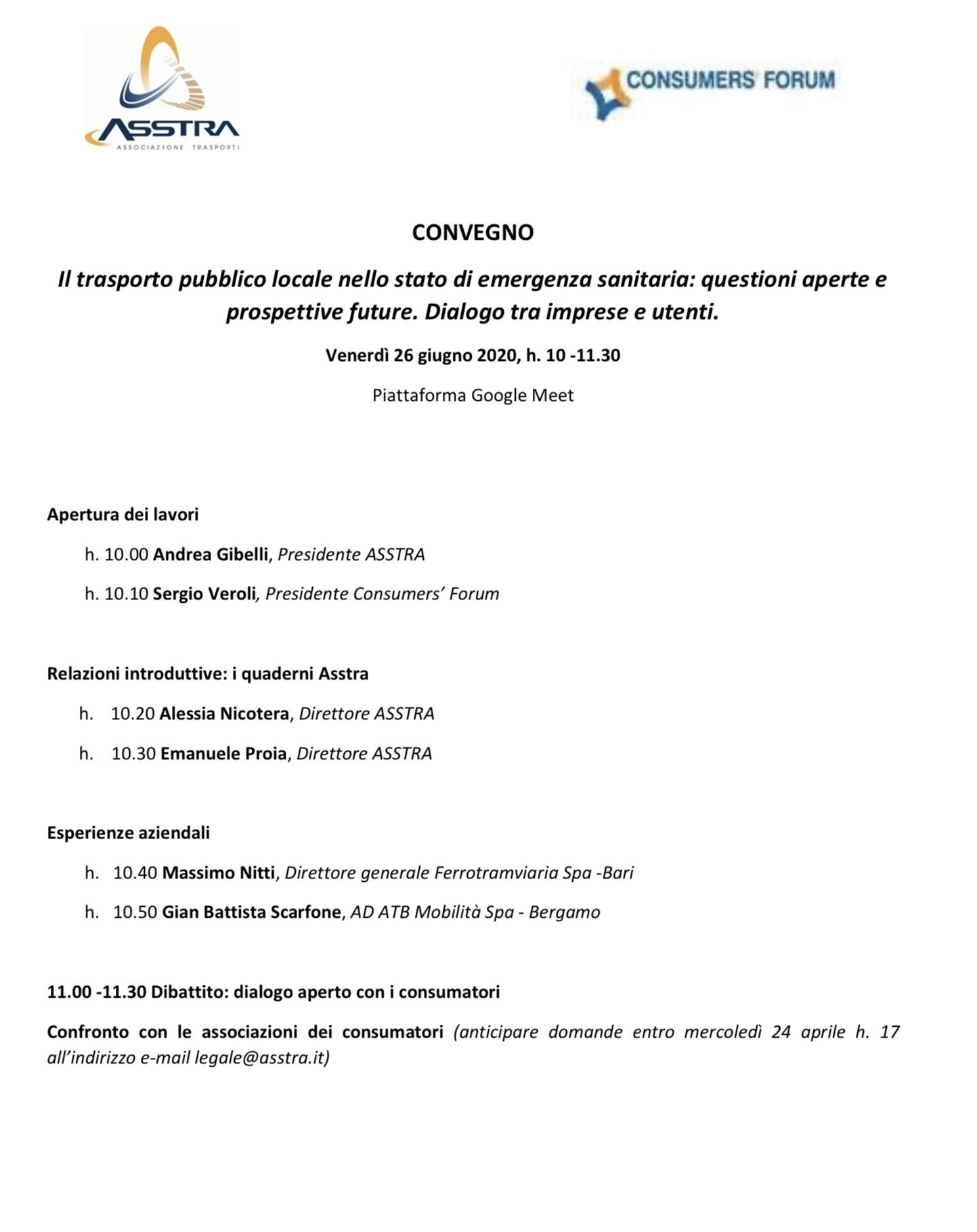 Il trasporto pubblico locale nello stato di emergenza sanitaria: questioni aperte e prospettive future. Dialogo tra imprese e utenti