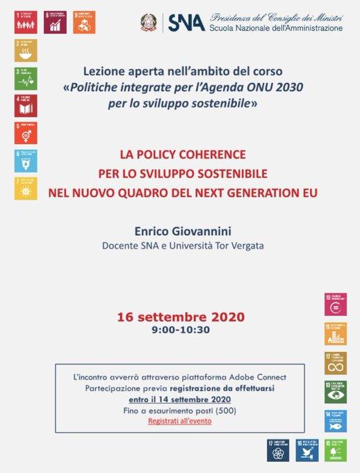 La policy coherence per lo sviluppo sostenibile nel nuovo quadro del next generation EU