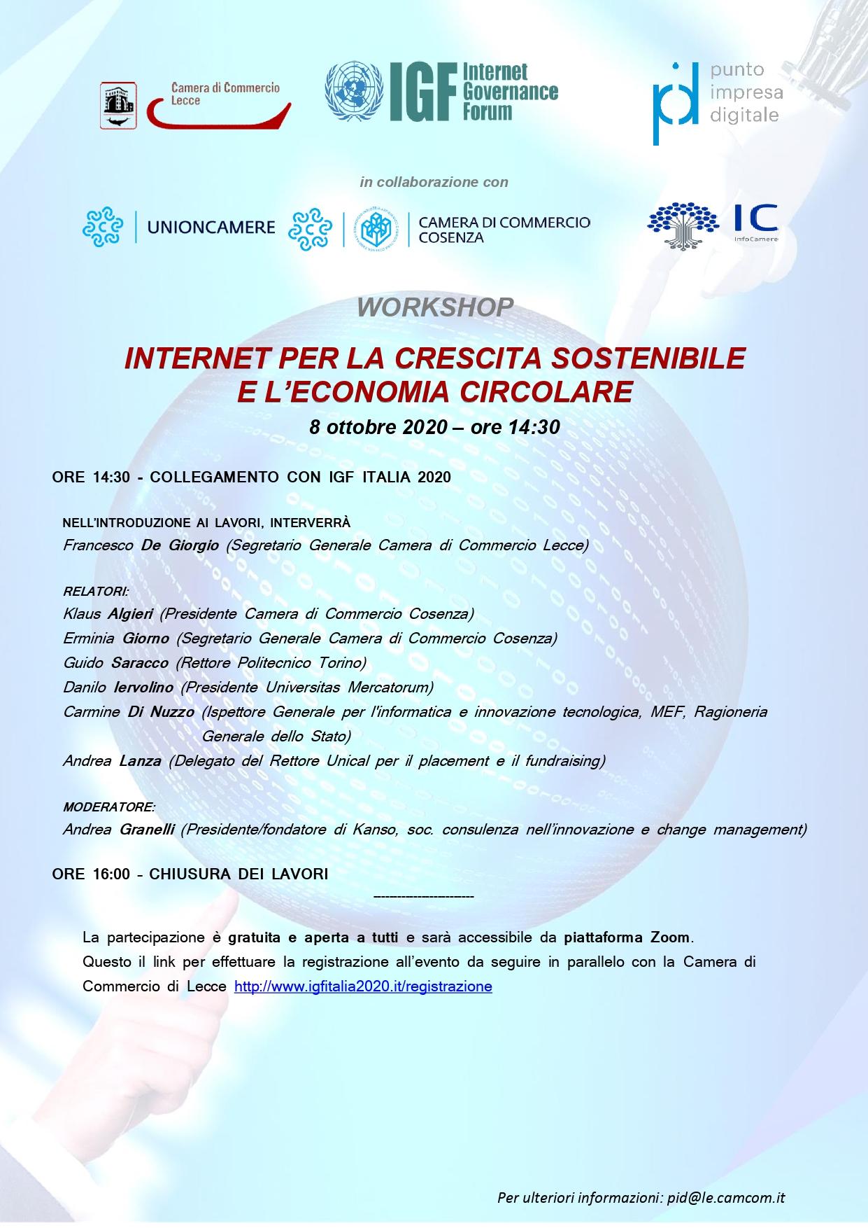 Internet per la crescita sostenibile e l'economia circolare