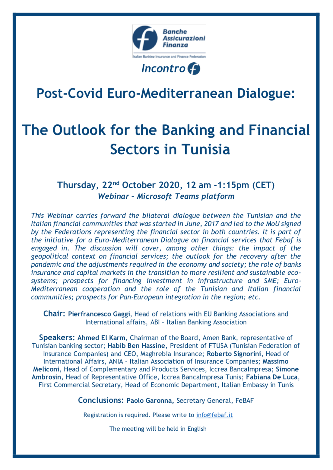 Post-Covid Euro-Mediterranean Dialogue: The Outlook for the Banking and Financial Sectors in Tunisia