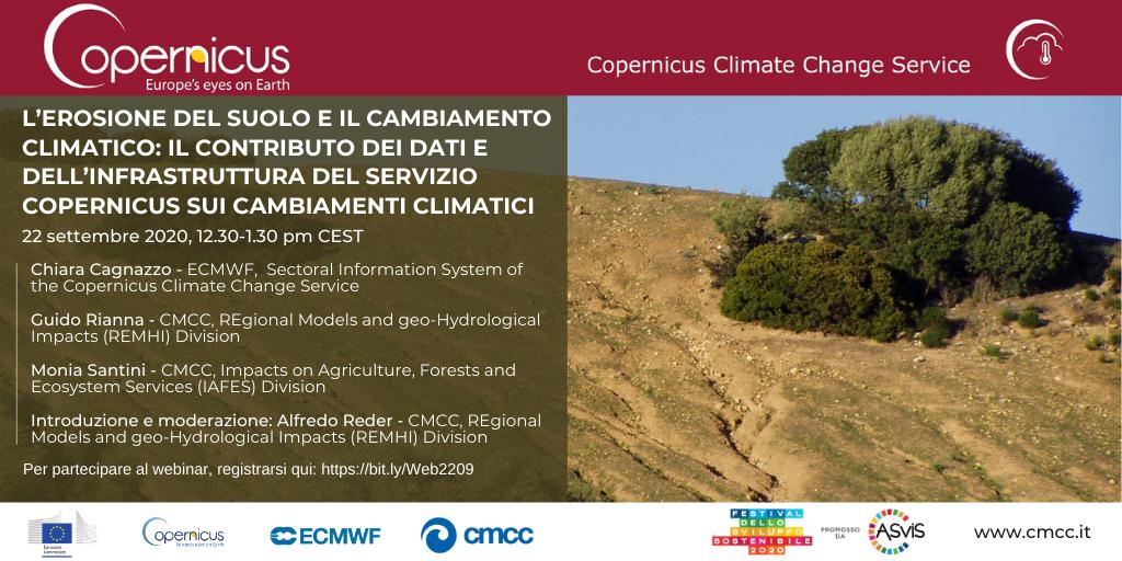L'erosione del suolo e il cambiamento climatico: il contributo dei dati e dell'infrastruttura del Servizio Copernicus sui cambiamenti climatici