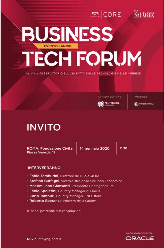 Presentazione del Business Tech Forum 2020