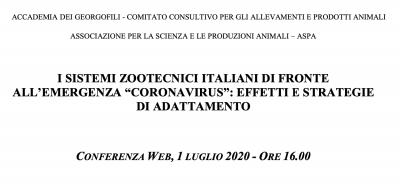 """I sistemi zootecnici italiani di fronte all'emergenza """"coronavirus"""": effetti e strategie di adattamento"""