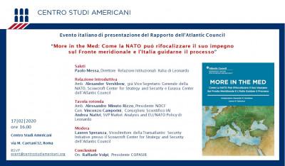 """Presentazione rapporto Atlantic Council """"More in the MED"""""""