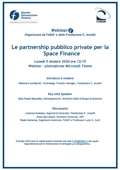 Le partnership pubblico private per la Space Finance