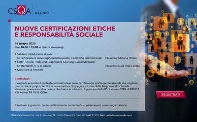 Nuove certificazioni etiche e responsabilità sociale
