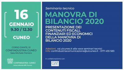 Seminario tecnico: Manovra di Bilancio 2020