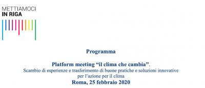 "Platform meeting ""il clima che cambia"""