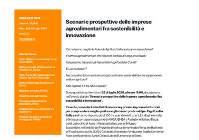 Scenari e prospettive delle imprese agroalimentari fra sostenibilità e innovazione