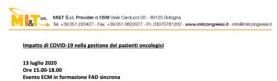 Impatto di COVID-19 nella gestione dei pazienti oncologici
