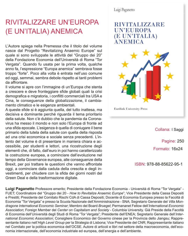 """Presentazione del libro: """"Rivitalizzare un'Europa (e un'Italia) anemica"""""""